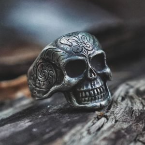 Hand-Engraved Skull Ring