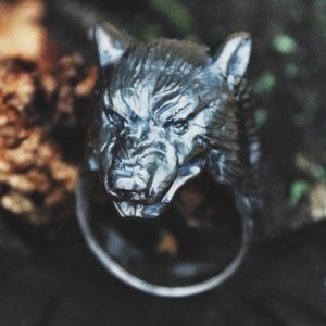 Black Wolf Silver Ring