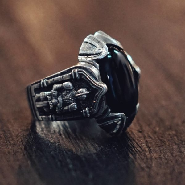 Medieval Ring with Knights and Black Oval Agate
