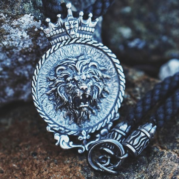 Silver Lion pendant with cord